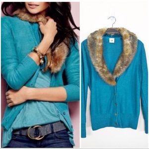 •CABI• Teal Tearoom Cardigan Removable Fur Collar